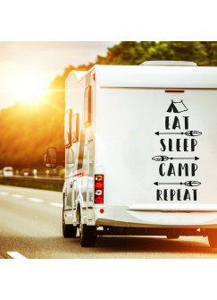 Autotattoo Camping Heckscheibenaufkleber Wohnwagen Sticker eat sleep camp repeat Autosticker Wohnmobil M2377