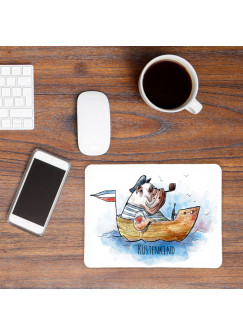 Mousepad Mouse Pad Mausunterlage Hund Käptn Dogge im Boot mit Spruch Küstenkind Seehund mp05
