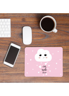 Mauspad Mousepad Mausunterlage kleine Wolke mit Herzen und Spruch a little smile for you mp08