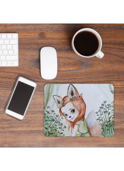 Mousepad mouse pad Mauspad mit Fuchs Fuchsmädchen im Wald Mausunterlage bedruckt für den Schreibtisch mouse pads Tier mp48