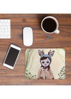 Mousepad mouse pad Mauspad Reh Rehkitz Rehmädchen im Wald Mausunterlage bedruckt für den Schreibtisch mouse pads Tier mp49