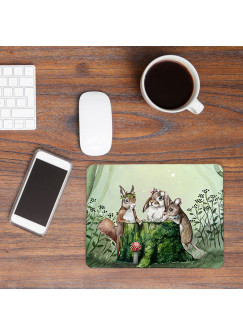 Mousepad mouse pad Mauspad Waldtierversammlung Hase Maus Eichhörnchen Mausunterlage bedruckt für den Schreibtisch Tiere mp53