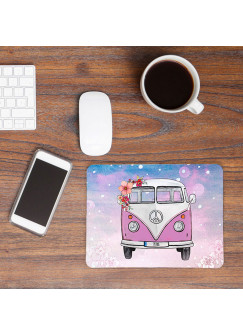 Mousepad mouse pad rosa Galaxie Bulli Bus mit Blumen & Name Mauspad mit Wunschnamen mp54
