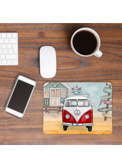 Mousepad mouse pad Mauspad roter Bulli Bus mit Surf Boards Surfbretter & Name Wunschnamen mp55