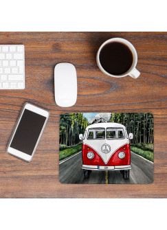 Mousepad mouse pad roter Bulli Bus auf Straße mit Name Wunschnamen Roadtrip mp56