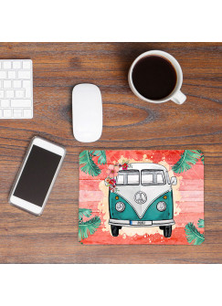 Mousepad mouse pad Mauspad türkiser Bulli Bus tropisch orange mit Name Wunschnamen Roadtrip mp57