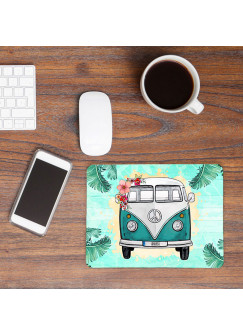 Mousepad mouse pad Mauspad türkiser Bulli Bus tropisch mint mit Name Wunschnamen Roadtrip mp58