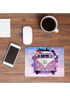 Mousepad mouse pad rosa lila Galaxie Bulli Bus mit Blumen & Name Mauspad mit Wunschnamen mp62