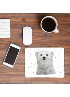 Mousepad mouse pad Mauspad mit Eisbär & Punkte Mausunterlage bedruckt für den Schreibtisch mouse pads Tier mp64