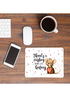 Mousepad mouse pad Mauspad mit Maus Mäuschen Herzbeere Spruch Thanks for existing... Mausunterlage bedruckt mouse pads Tier mp76