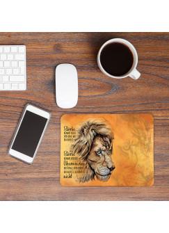 Mousepad mouse pad Mauspad mit Löwe Löwenkopf Spruch Stärke kommt von Überwindung Mausunterlage bedruckt mouse pads Tier mp79