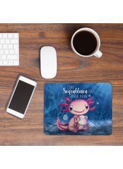 Mousepad mouse pad Mauspad mit Axolotl Spruch Seifenblasen statt Trübsal blasen Mausunterlage bedruckt mouse pads Tier mp80