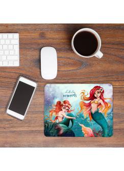 Mousepad mouse pad Mauspad Meerjungfrau Geschwister Spruch Let´s be Mermaids Mausunterlage bedruckt mouse pads mp83