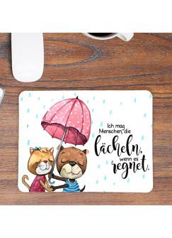 Mousepad mouse pad Mauspad Hund Katze Pärchen unter Regenschirm Spruch lächeln wenn es regnet Mausunterlage bedruckt mouse pads mp99