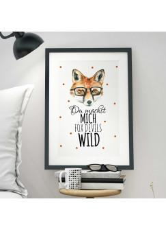 A3 Print Illustration Poster Fuchs mit Punkten und Spruch du machst mich fox devils wild p07