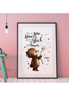 """A3 Print Poster mit Baby Bär & Spruch Wenn aus Liebe Leben wird..."""" mit Wunschnamen p100"""""""