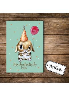 A6 Postkarte Osterkarte Print Hase Osterhase mit Luftballon und Spruch Häschentastische Ostern pk102