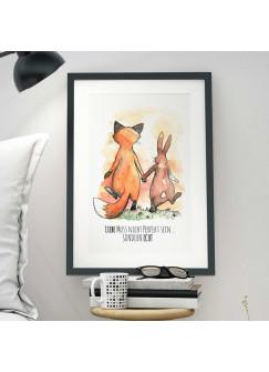 A3 Print Illustration Poster Hase und Fuchs mit Spruch Liebe muss nicht perfekt sein… sondern echt p10