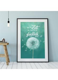 """A4 Print Pusteblume mit Spruch Zitat Poster Plakat Druck Motto Nimm dir Zeit..."""" p110"""""""