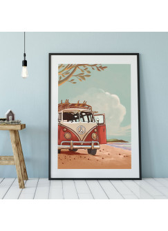 A3 Print bulli Autobus am Strand Poster Bus Plakat Kleinbus Van Druck farbig p111