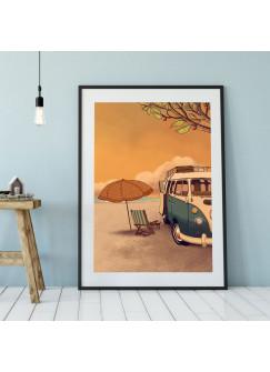A3 Print Strand mit Bulli Autobus am Meer Poster Bus Plakat Kleinbus Van Druck farbig p112