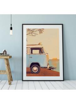A3 Print Surf Bus am Strand Bulli Autobus am Meer Poster Plakat Kleinbus Van Druck farbig p113