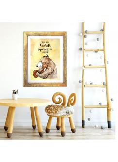 A3 Print Bär & Eichhörnchen mit Spruch Poster Plakat Motto Zitat Wenn man kuschelt... p116
