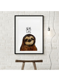A3 Print mit Faultier und Spruch Sloth Life Poster Plakat Motto Zitat p121
