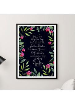 A3 Print Poster mit Blumen & Spruch Zauber Wunder Träume... Druck mit Zitat p132