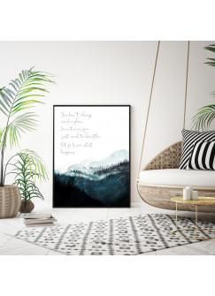 A4 oder A3 Poster Print Wandbild Bäume Wald Berge Berglandschaft Aquarell Kunstdruck p141