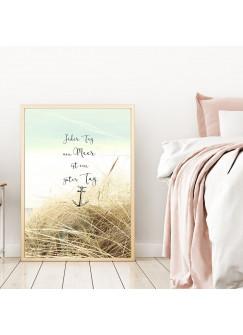 "A4 oder A3 Poster Print Wandbild Anker Spruch Düne ""Ein Tag am Meer ist ein guter Tag"" p146"