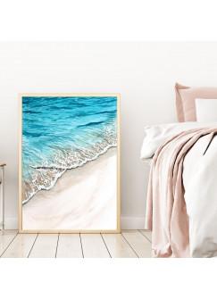 A4 oder A3 Poster Wellen Print Wandbild Strand Küste Plakat Meer Aquarell Kunstdruck p157