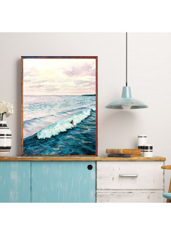 A4 oder A3 Poster Print Wandbild Surfer auf Welle Plakat Meer Aquarell Kunstdruck p164