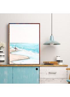A4 oder A3 Poster Print Wandbild Surfer am Strand mit Surfboard Plakat Meer p165