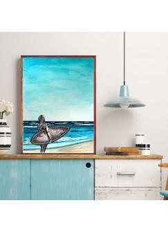 Print Poster maritim in A3 oder A4 mit Surfer Surferin Meer Strand Welle Plakat surfing Druck Motto Zitat p166
