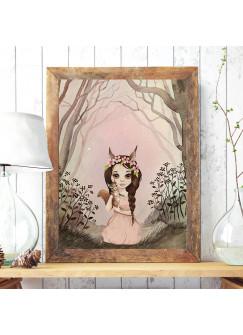 Print Poster in A3 oder A4 Eichhornmädchen Emuki mit Eichhörnchen im Wald Plakat Kinderposter Druck Motiv p194