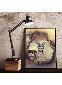 Print Poster in A3 oder A4 Rehmädchen Runi im Wald Plakat Kinderposter Druck Motiv p195