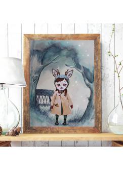 Print Poster in A3 oder A4 Rehmädchen Runi im Wald Plakat Kinderposter Druck Motiv p198