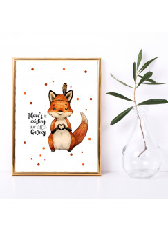 A3 Print Fuchs Herz mit Spruch Thanks for existing in my little Galaxy Poster Plakat Motto Zitat p223