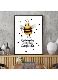 A3 Print Hummel mit Spruch Optimismus heißt rückwärts Sumsi mit Po Poster Plakat Motto Zitat p225