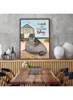 Print Poster in A3 oder A4 Robbe & Spruch Wer nackt badet braucht keine Bikinifigur Plakat Druck Motiv p227