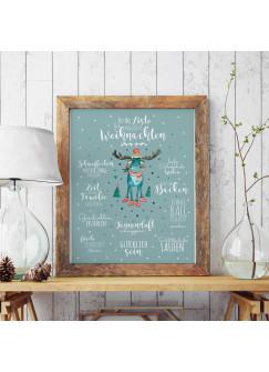 A3 Print Illustration Poster Plakat magische Weihnachten mit Rentier und To-Do Liste p48