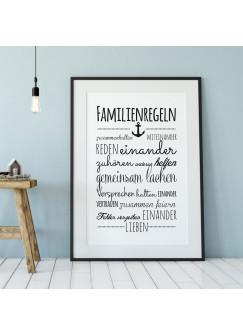 A3 Print Familienregeln Illustration Poster Plakat Druck Hausordnung Familie p80