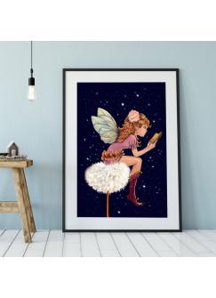 A3 Print Elfenmotiv Illustration Poster Plakat Druck mit Elfe Fee auf Pusteblume und Sterne p97