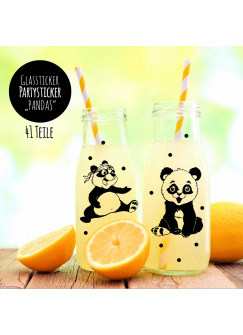 Aufkleber Sticker Glassticker Partyaufkleber Pandas mit Bambus und Punkten M2009