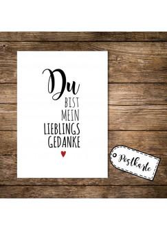 A6 Postkarte Print mit Spruch Du bist mein Lieblingsgedanke pk01