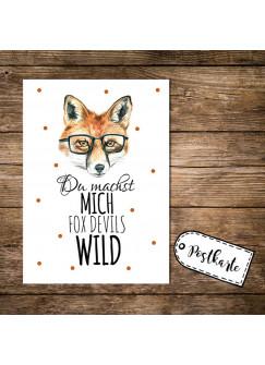 A6 Postkarte Print Fuchs mit Spruch Du machst mich fox devils wild pk02
