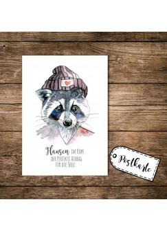 A6 Postkarte Print Waschbär mit Spruch Flausen im Kopf pk04