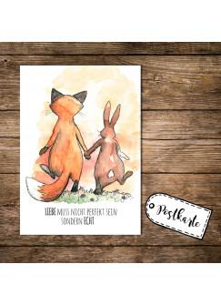 A6 Postkarte Print Fuchs und Hase mit Spruch Liebe muss nicht perfekt sein sondern echt pk06
