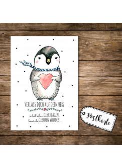 A6 Postkarte Pinguin mit Herz und Spruch verlass dich auf dein Herz... pk09